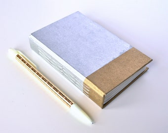 "Simple Handmade Mini Notebook || Metallic Silver & Gold || Journal, Diary, Sketchbook || 3.25"" x 5"" x 1 