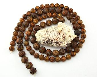 14.5 Inch Tibetan  Agate  dZi  EYE  Pattern  Beads Round  Bead