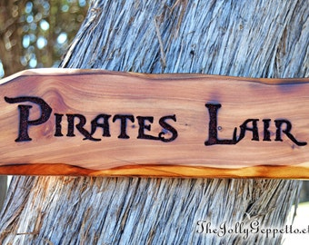 Pirate Sign, Pirates Lair Sign, Pirates of the Caribbean, Pirate Decor, Father's Day Gift, Man Cave, Carved Wood Sign, The Jolly Geppetto
