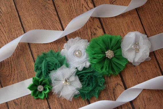 Flower Sash, Green #5  and white Sash , flower Belt, maternity sash
