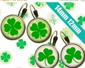 SALE 75% Digital Collage Sheet St. Patrick's Day Shamrocks #2 14mm 12mm Printable Circles Download for pendants  earrings cufflinks rings