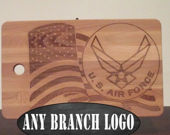 Military emblem American Flag cutting board, veteran gift, Air Force cutting board, armed forces, USMC, Marine Corps, Army, Navy, Coastguard