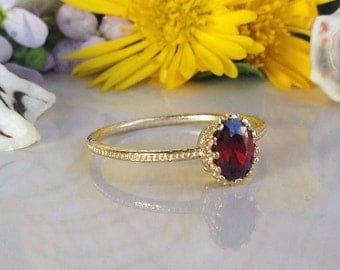 20% off-SALE!!! Garnet Ring - January Birthstone - Stacking Ring - Gold Ring - Bezel Ring - Gemstone Ring - Red Ring - Simple Jewelry