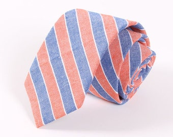 Mens Tie with Coral and Blue Stripes. Mens Wedding Tie.Prom Tie.Mens Gift
