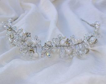 Handmade freshwater pearl and crystal bridal tiara