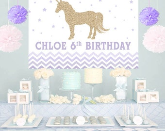Unicorn Purple Ombre Personalized Party Backdrop - First Birthday Cake Table Backdrop- Baby Shower Backdrop, Birthday Unicorn Backdrop