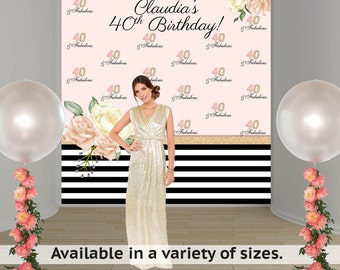 Birthday Bloom Party Personalized Photo Backdrop -Rose Pink Photo Backdrop- 40th Birthday Large Photo Backdrop, Custom Backdrop