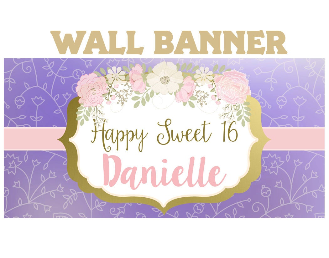 boho birthday banner ~ 16th birthday personalized party banners