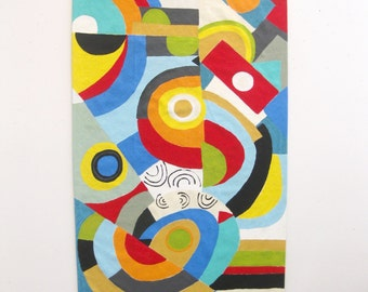 Sold. 24x47,MODERN DESIGN  canvas floorcloth, Hand painted,ABSTRACT design,Bright colors.