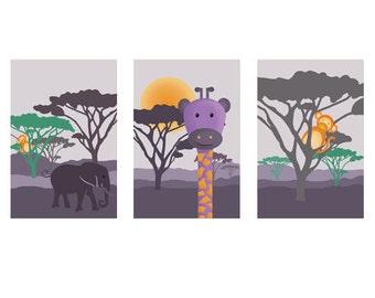 3 posters on savannah with a giraffe, elephant and monkey, boy wall art décor, kids room, nursery
