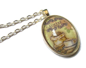 Picture Pendant, Coffee Art,  Necklace, Art Pendant,  Glass Necklace, Oval, Silver Tone, Coffee Beans, Cup
