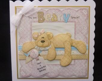 Handcrafted 3d Female/Girl Decoupage card - 'Cute Teddy Bear' - Happy Birthday - uk seller