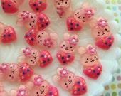 25mm Pink Heart Love Bunny Kawaii Cabochons - 6 pcs - Resin Decoden Cabochons