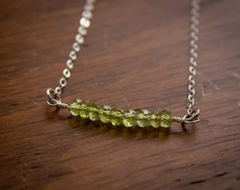 Peridot Bead Necklace and Earring Set (Sterling Silver)