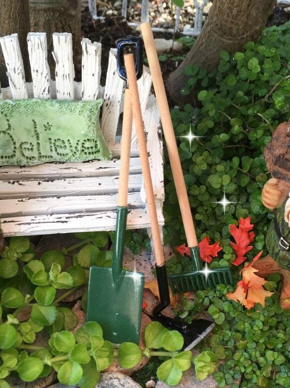 Fairy garden tools miniature garden tools miniature rake for Miniature garden tools