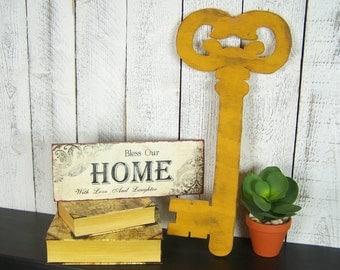 Large Key Wall Decor Wooden Key Sign Key Decor Oversized Key Wall Art Skeleton Key Decor Key To Success Key To Happiness Shabby Chic Key Art