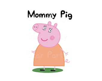 Mommy Pig, Mummy, Digital Image for T shirt, Pig party, Printable Iron On Transfer, Sticker custom Birthday Shirt image