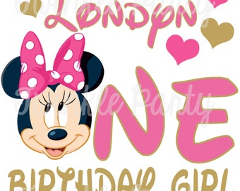 Personalized Minnie Mouse Digital Image for T shirt, Printable Iron On Transfer, 1st Birthday, first, Sticker custom Birthday Shirt image