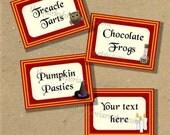 Harry Potter Inspired / Gryffindor Colors / Blank Food Label / Tent Cards / Wedding Shower / Party Decor / Printable PDF / Instant Download