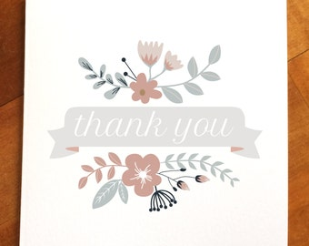 Thank you floral greeting card, thanks