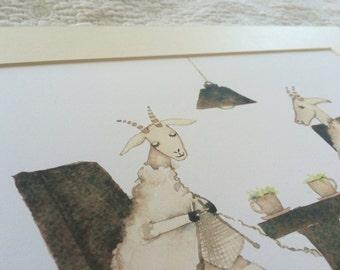 Sheep knitting illustration print