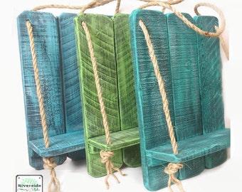 Rustic Wood Wall Shelf - Handcrafted Wood Shelves - Blue Nautical Rope Wood Shelf -Shabby Teal Distressed Shelves -Beach Decor