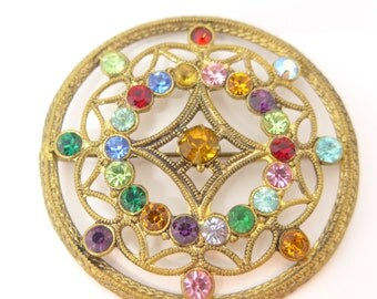 Vintage Czech Rainbow Paste Glass Filigree Metal Large Brooch Pin