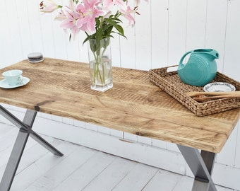 Reclaimed Wood Dining Table w/ 'X' Steel Legs