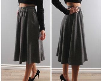 Vintage midi skirt grey charcoal high waist grey wool full skirt 1980 80s circle skirt modest small
