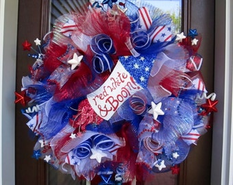Red White & Boom Patriotic Holiday Poly Deco Mesh Wreath, July 4th, Memorial Day, Red/White/Blue/Silver, Wreath