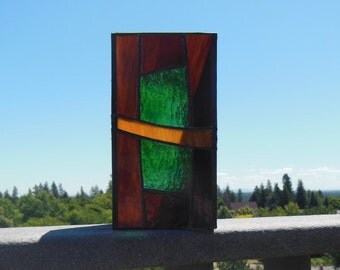 Stained Glass Candle Holder-Dark Amber