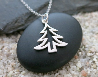Christmas Tree Necklace, Sterling Silver Christmas Tree Charm, Holiday Jewelry