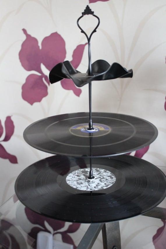 3 tier cake stand retro record stand vintage home decor