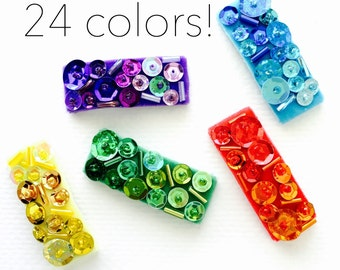 Couture Ombre Sequin Snap Clip Set of 1,2, 3 or 5 - Sequin snap clips, Velvet snap clips, Sparkle hair clips, Beaded hair clips, Girls hair