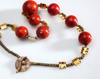 Red Necklace, Coral necklace, statement necklace, red and gold necklace, stunning red necklace