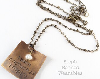 Teacher gift necklace in bronze with pearl accent