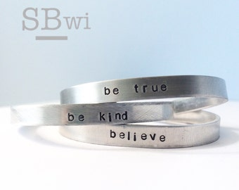 Bangle trio in aluminum --- be kind, be true, believe