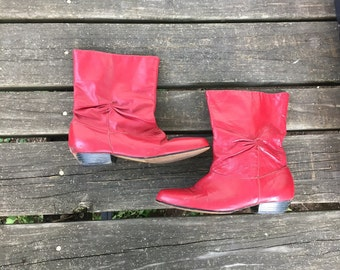 Boots - Size 8.5 Red Leather Ankle Booties Pirate Slouch Cowboy Boots Womens 8 1/2