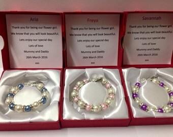 Flower Girl Bracelet -flower girl gift - flower girl - flower girl jewelry - Flower Girl Gifts - Boxed Bracelets - flower girl keepsake