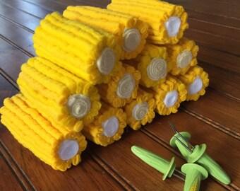 Felt food. Felt corn. Play food. Felt corn on the cob ready for play kitchens.
