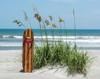 Wooden Surfboard with Pink Flowers and Tahitian Sunrise, Size 47 1/2 x 11/1/2 x 1 Sweet, Sweet Board for your Lanai!