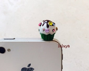 High Quality 3D Green Cupcake  Dust Plug Phone Charm Earphone Cap Cellphone Crystals