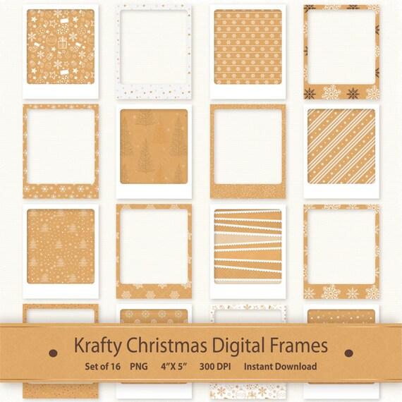 Kraft Christmas Frame Clip Art Holiday Photo Frame Printable Instant ...