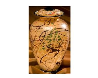 """Hand Made """"Autumn"""" Glass Urn"""