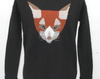 Black Angora Blend Sweater with fox design. By Etam. Unique sweater, warm sweater, cute sweater, sweet sweater