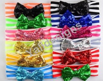 U Pick Bling Bow Headbands Shinny Sequin Bowknot Headbands Elastic Stripe Cotton Headband -YTK41
