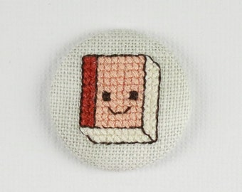Book Red Cover - Cross Stitched Needle Minder