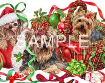 Fabric Art Quilt Block  *Yorkie Christmas* 16-084 FREE SHIPPING