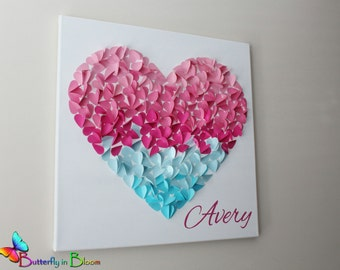 Personalized Heart of Hearts 3D Ombre Nursery Wall Art - Nursery Art - Wall Art - Nursery Decor - Personalized - Hearts - Baby Shower - Gift