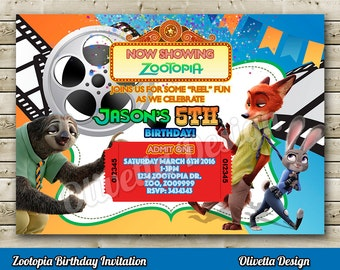 Zootopia Invitation, Zootopia Birthday Invitation, Zootopia Party Invitation, Zootopia Invite, Zootopia Movie Invitation, Zootopia Party